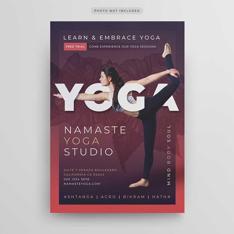yoga flyer psd design