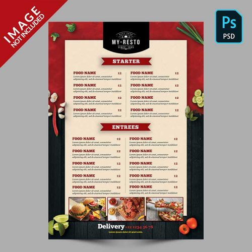 menu template psd