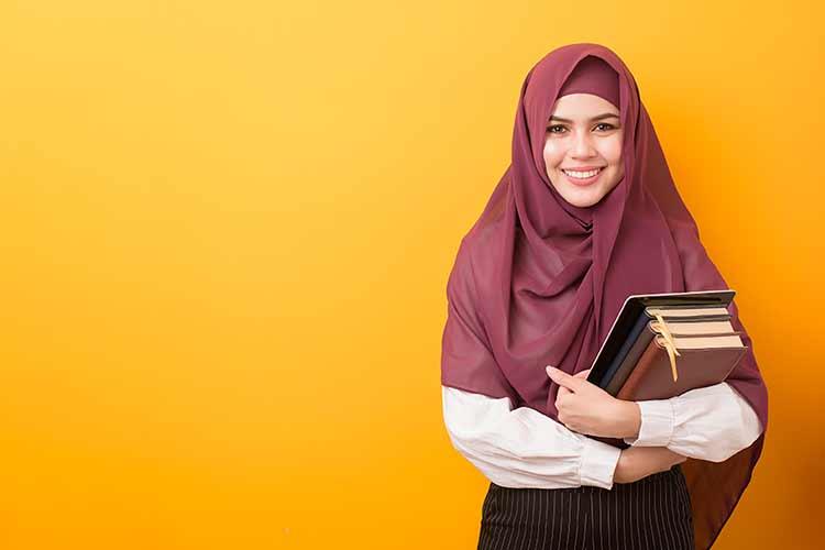 خلفية طالبة مسلمة