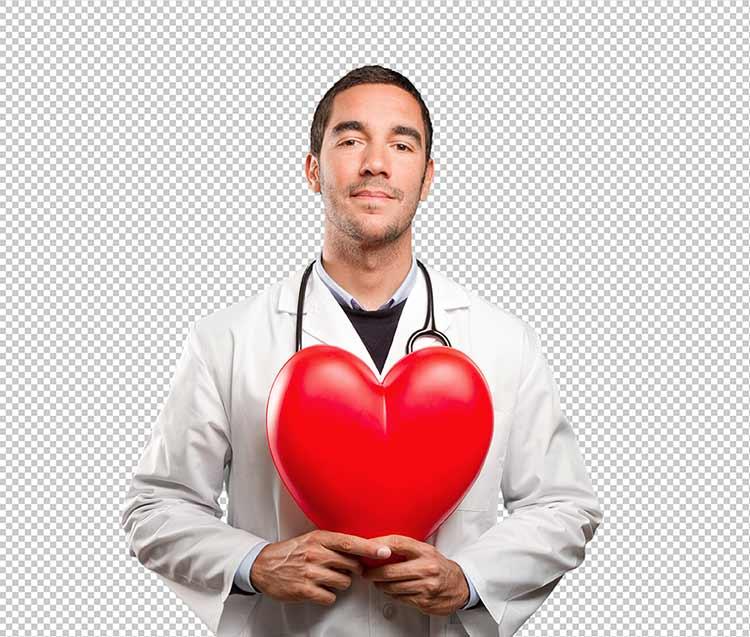 طبيب يحمل بين يديه قلب PNG