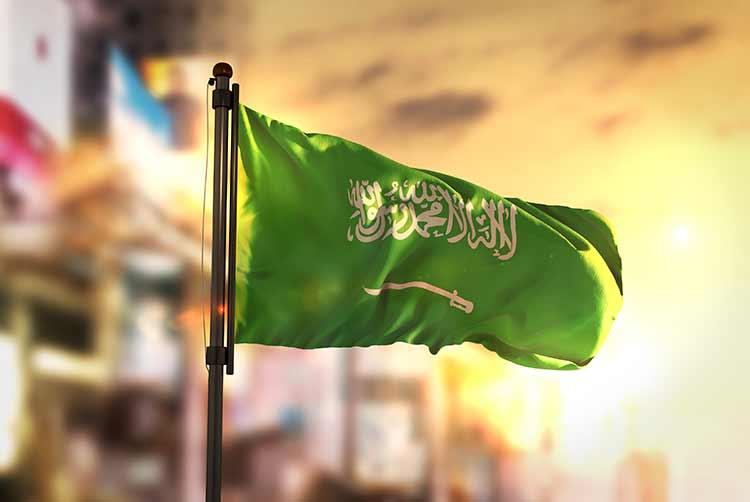 بورتريه علم السعودية يرفرف HD, خلفية ضبابية, شروق شمس, صور وخلفيات أعلام الدول مجانا