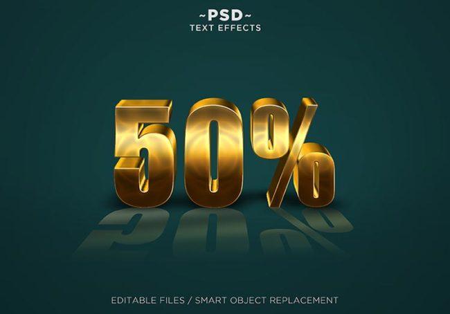 قالب ستايل تأثير ذهبي للنصوص 3D Gold Text Effect PSD