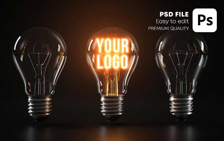 موك اب شعار مضيء PSD Mockup Logo