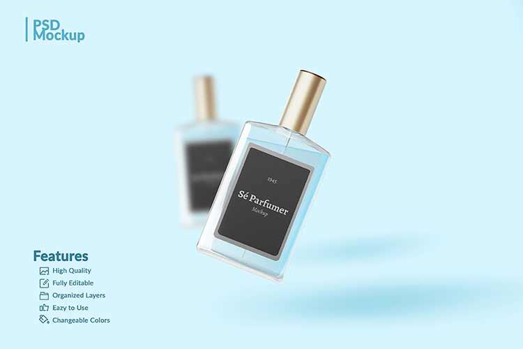 موك اب علامة تجارية ازازة برفان Perfume Mockup PSD