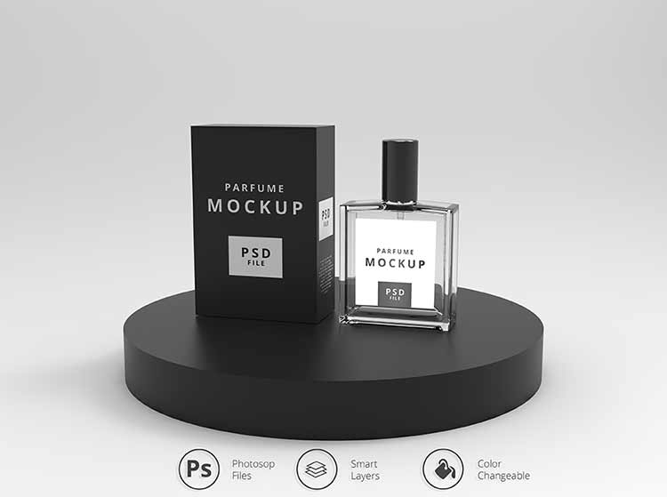 موك اب واقعي عطر برفان PSD Mockup Perfume