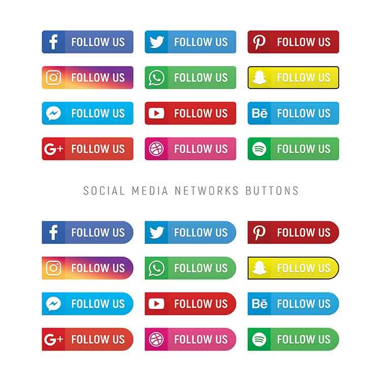 social follow psd icons