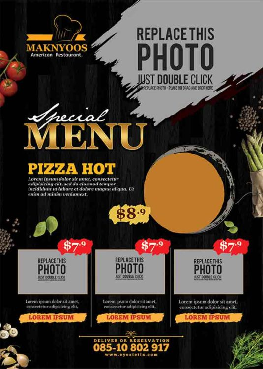 pizza flyer psd template
