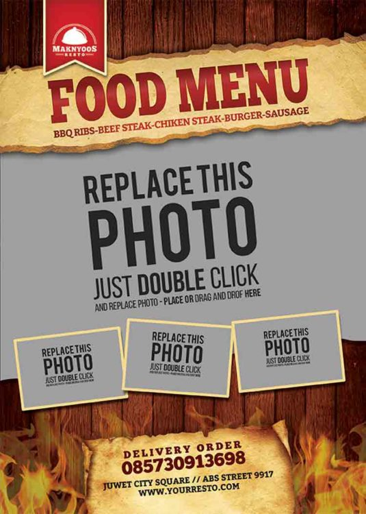 menu psd template