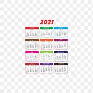 تقويم 2021 بألوان متعددة، PNG، EPS، تصميم مجاني