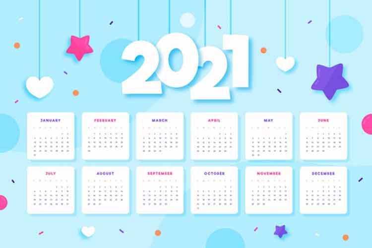 قالب تقويم 2021