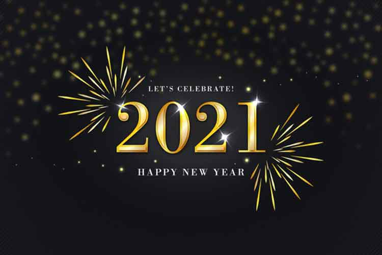 Golden happy new year 2021 Vector