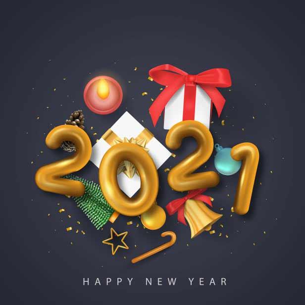 تصميم سنة جديدة سعيدة 2021 نص ذهبي مع عناصر عيد الميلاد Vector