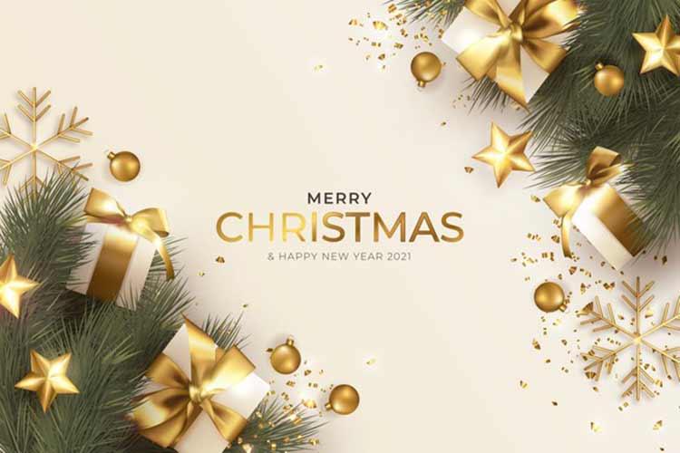 عيد ميلاد سعيد بطاقات المعايدة مع زخرفة عيد الميلاد واقعية Free Vector