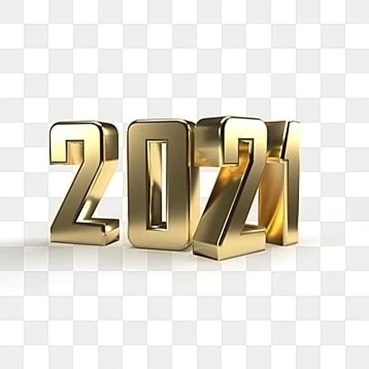 السنة الجديدة، رقم PSD، PNG، 2021، ذهبي لامع، خلفية شفافة