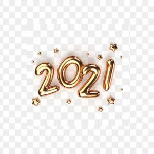 سنة جديدة سعيدة 2021، أرقام ذهبية، PNG، PSD مجانا