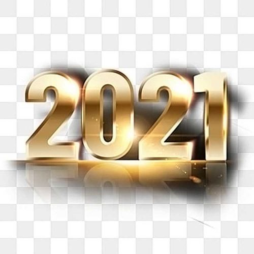 2021، تأثير ذهبي، رقم 3D، PSD، PNG، مجاني
