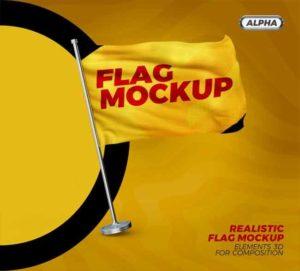 تحميل Waving Flag Psd Mockup مجانا