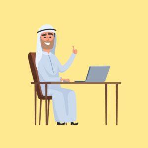 فكتور رجل أعمال خليجي جالس على مكتب Gulf businessman eps, ai vector, design, file للتصميم مفتوح قابل للتعديل على اليستريتور مجانا .