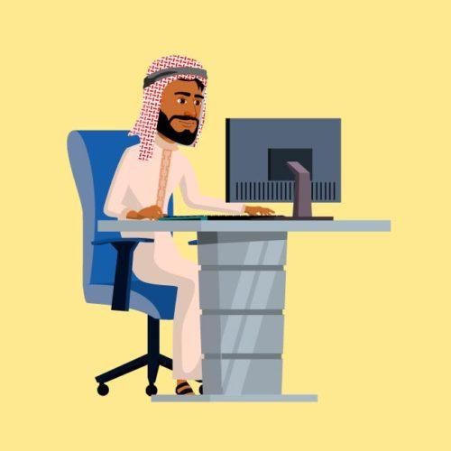 فكتور خليجي جالس على مكتب Gulf man eps, ai vector, design, file للتصميم مفتوح قابل للتعديل على اليستريتور مجانا .