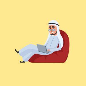فكتور رجل أعمال خليجي يستخدم لاب توب Gulf businessman eps, ai vector, design, file للتصميم مفتوح قابل للتعديل على اليستريتور مجانا .